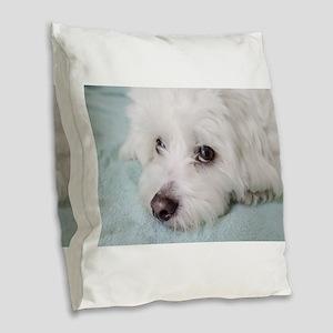 coton de tulear Burlap Throw Pillow