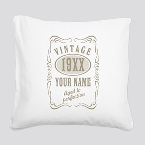 Vintage editable aged to perf Square Canvas Pillow