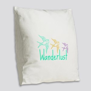 Wanderlust Burlap Throw Pillow