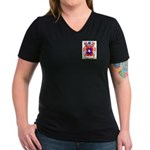 Menegazzo Women's V-Neck Dark T-Shirt