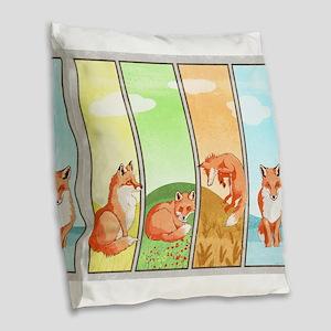 Season of the Foxes Burlap Throw Pillow