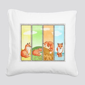 Season of the Foxes Square Canvas Pillow