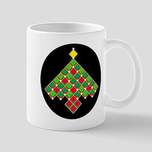 xmas quilt treesave gold black rnd Mug