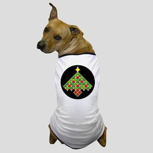 xmas quilt treesave gold black rnd Dog T-Shirt