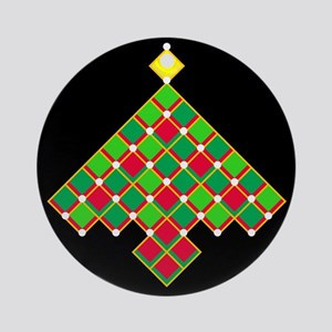 xmas quilt treesave gold black rnd Round Ornament