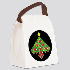 xmas quilt treesave gold black rn Canvas Lunch Bag