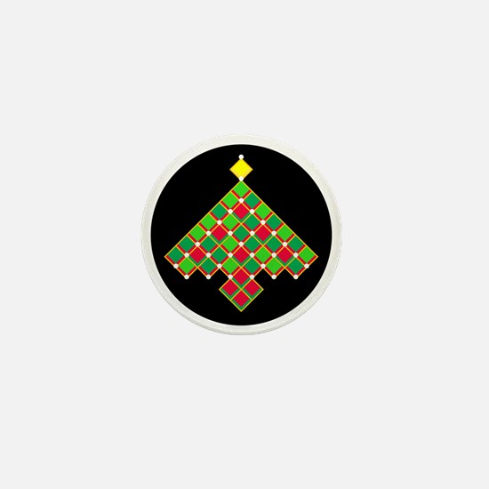 xmas quilt treesave gold black rnd Mini Button