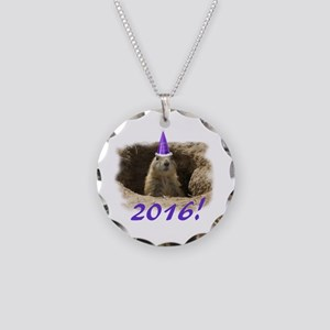 GroundhogNewYear Necklace Circle Charm