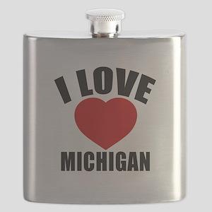 I Love Michigan Flask