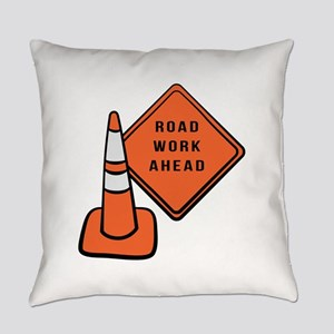 Road work ahead traffic cone Everyday Pillow