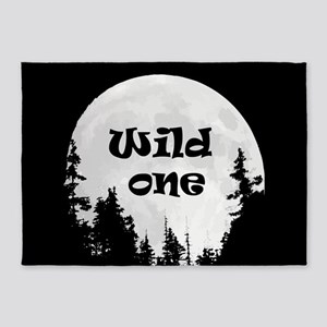 Wild One Fun Quote Moon and Trees 5'x7'Area Rug