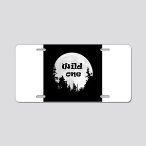 Wild One Fun Quote Moon and Trees Aluminum License