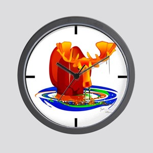 Moose Grazing Wall Clock