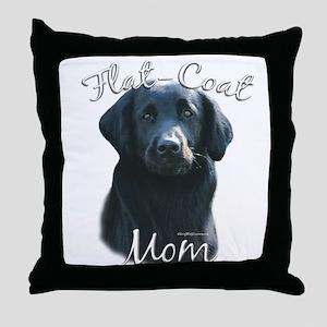 Flat-Coat Mom2 Throw Pillow