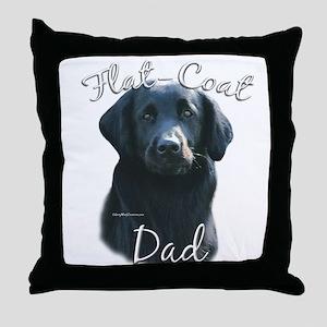 Flat-Coat Dad2 Throw Pillow