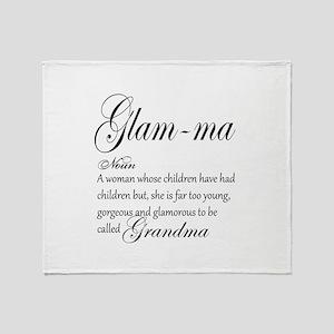 Glam-ma Grandma Hand lettered art Throw Blanket