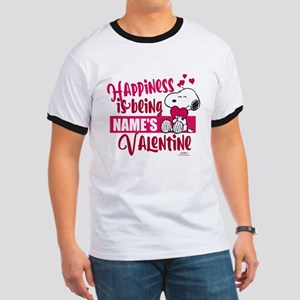 Snoopy Happiness is Being - Personalized Ringer T