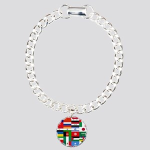 Country Flags Charm Bracelet, One Charm