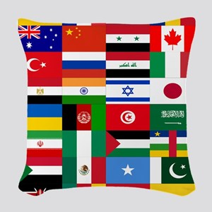 Country Flags Woven Throw Pillow
