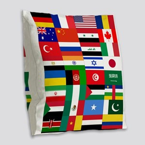 Country Flags Burlap Throw Pillow