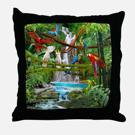 Funny Parrot art Throw Pillow