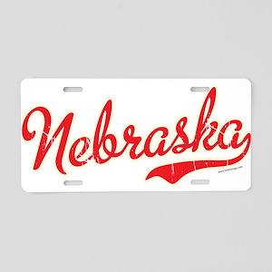 Nebraska Script Font Vintage Aluminum License Plat