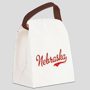 Nebraska Script Font Vintage Canvas Lunch Bag