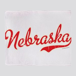 Nebraska Script Font Vintage Throw Blanket