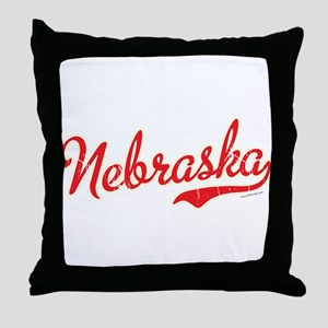 Nebraska Script Font Vintage Throw Pillow