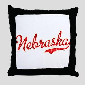 Nebraska Script Font Vintage Throw Pillow