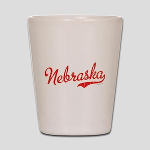 Nebraska Script Font Vintage Shot Glass