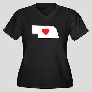 I Love Nebra Women's Plus Size V-Neck Dark T-Shirt