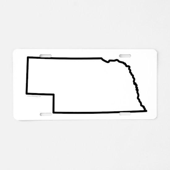 Nebraska State Outline Aluminum License Plate