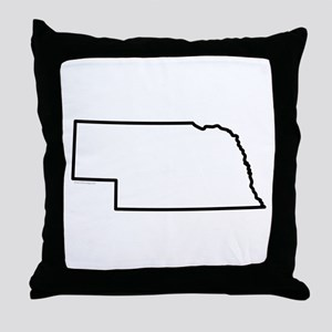 Nebraska State Outline Throw Pillow