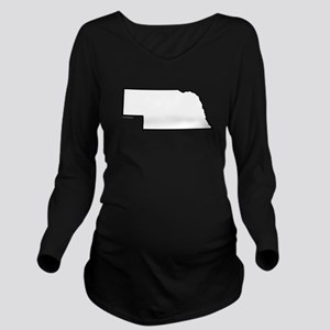 Nebraska State Outli Long Sleeve Maternity T-Shirt