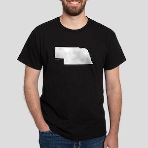 Nebraska State Outline Dark T-Shirt