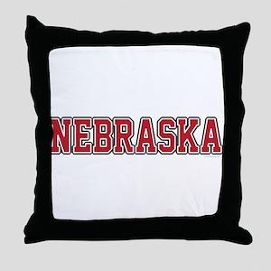 Nebraska Jersey Red Throw Pillow