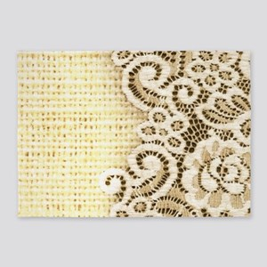 country beige burlap lace 5'x7'Area Rug