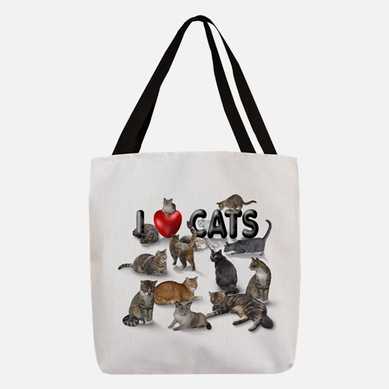 Polyester Tote Bag I Love Cats