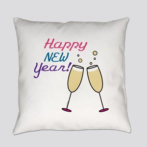 Happy New Year Champagne Everyday Pillow