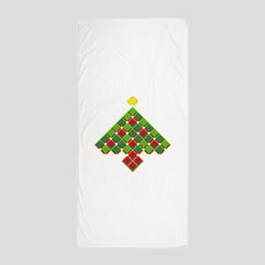 xmas quilt treesave gold clear Beach Towel