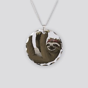 skull sloth Necklace Circle Charm