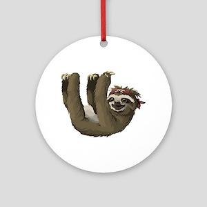 skull sloth Round Ornament
