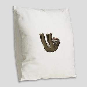 skull sloth Burlap Throw Pillow