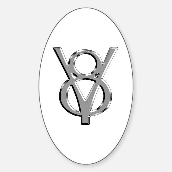 V8 Chrome Oval Decal