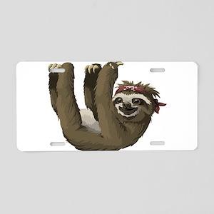 skull sloth Aluminum License Plate