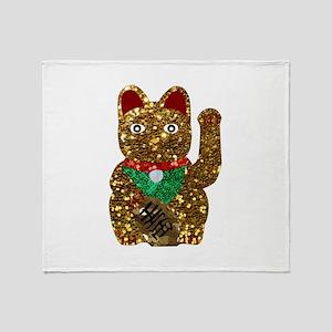 maneki neko cat Throw Blanket