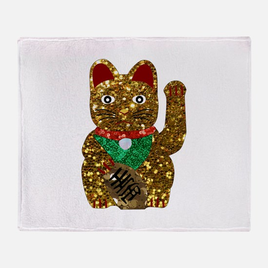 maneki neko cat Throw Blanket