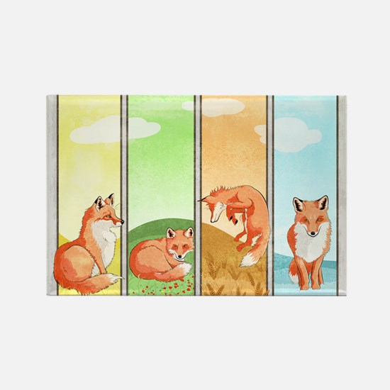 Season Of The Foxes Rectangle Magnets