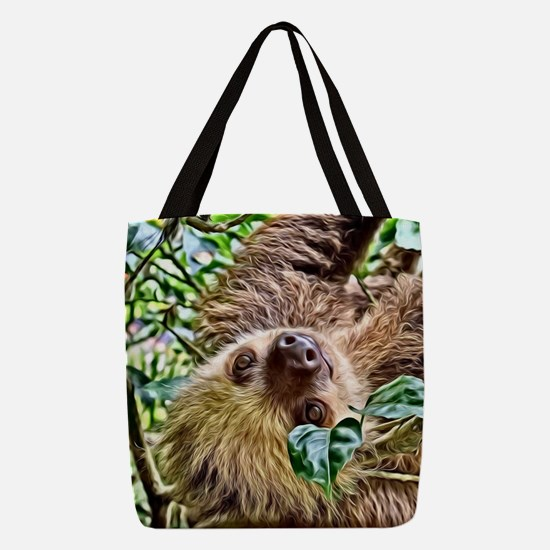 Painted Sloth Polyester Tote Bag